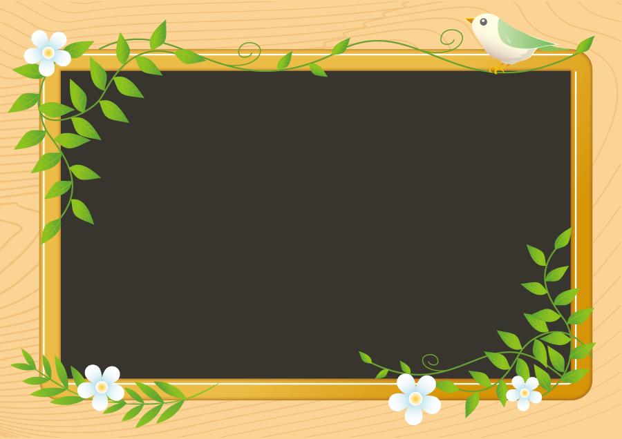 フリーイラスト 小鳥の止まる黒板の飾り枠