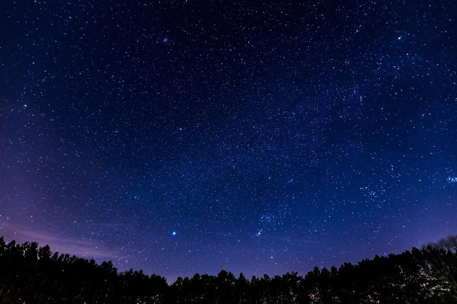 フリー写真 星空の夕景