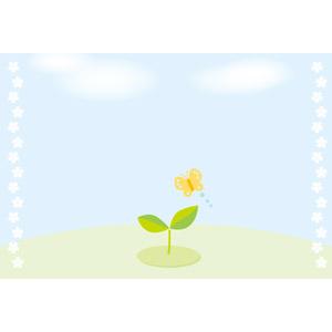 フリーイラスト, ベクター画像, AI, 背景, 植物, 新芽, 蝶(チョウ), 青空