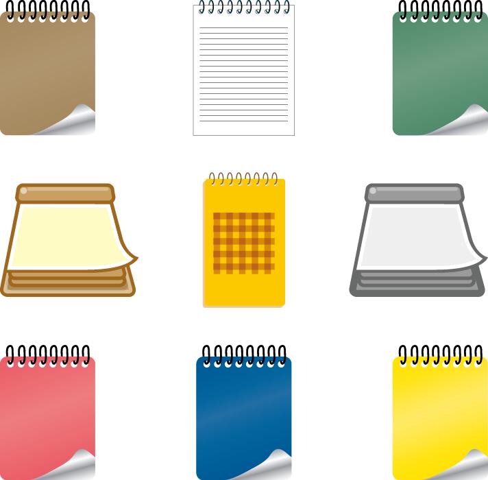 フリーイラスト 9種類のメモ帳のセット