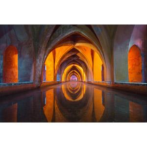 フリー写真, 風景, 建造物, 建築物, 宮殿, 貯水槽, アルカサル, セビリアの風景, 世界遺産