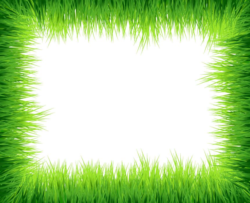 フリーイラスト 緑色の草の飾り枠