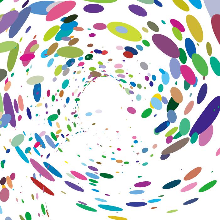 フリーイラスト 渦巻き状のカラフルなドッドの背景
