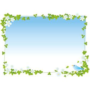 フリーイラスト, ベクター画像, AI, 背景, フレーム, 囲みフレーム, 植物, 蔦(ツタ), 青空, 小鳥, 青い鳥, 花