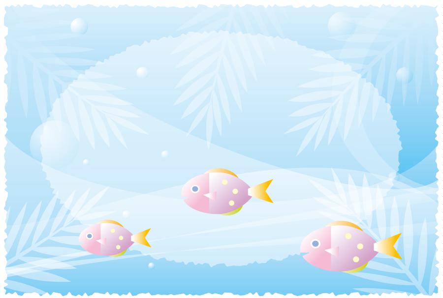 フリーイラスト 魚のいる水中の背景