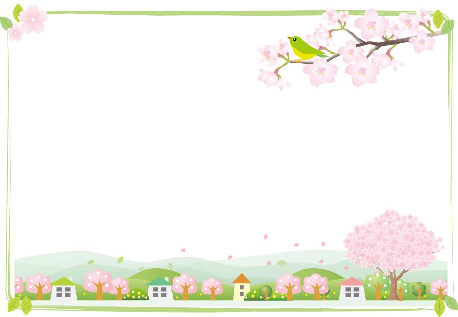 フリーイラスト 鶯と桜の花が咲く春の飾り枠