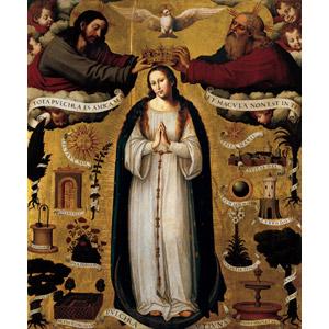 フリー絵画, ビセンテ・フアン・マシップ, 宗教画, キリスト教, 新約聖書, 無原罪の御宿り, 聖母マリア, イエス・キリスト, 三位一体, 父なる神, 白い鳩, 冠, 天使(エンジェル), 手を合わす
