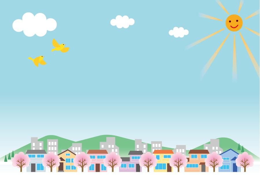 フリーイラスト 青空と桜の咲く春の町並み