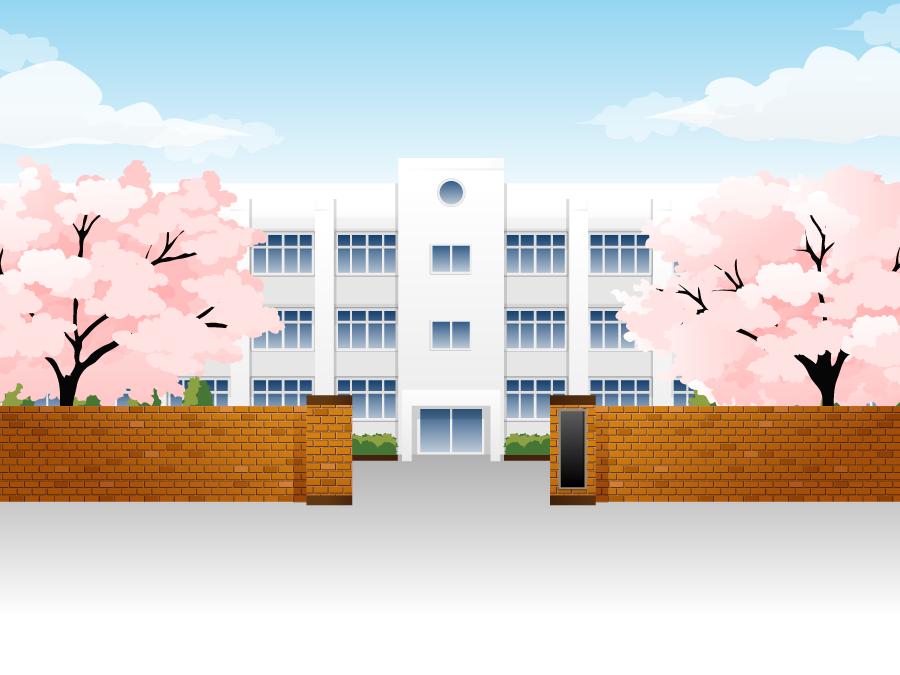 フリーイラスト 桜が咲く学校の校舎と正門