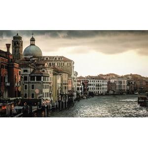 フリー写真, 風景, 建造物, 建築物, 都市, 街並み(町並み), 運河, イタリアの風景, ヴェネツィア(ベネチア)