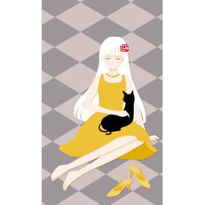 フリーイラスト, ベクター画像, EPS, 背景, 人物, 少女, 人と動物, 猫(ネコ), 黒猫, ワンピース, 目を閉じる