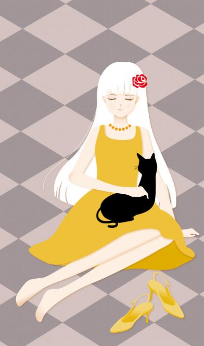 フリーイラスト 黒猫を膝の上に乗せた少女