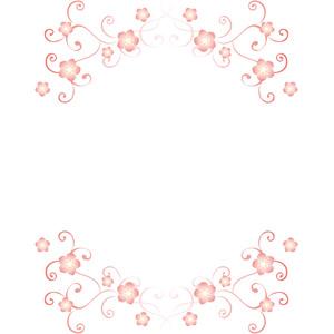 フリーイラスト, ベクター画像, EPS, 背景, フレーム, 上下フレーム, 唐草模様, 桜(サクラ), 花柄, 春