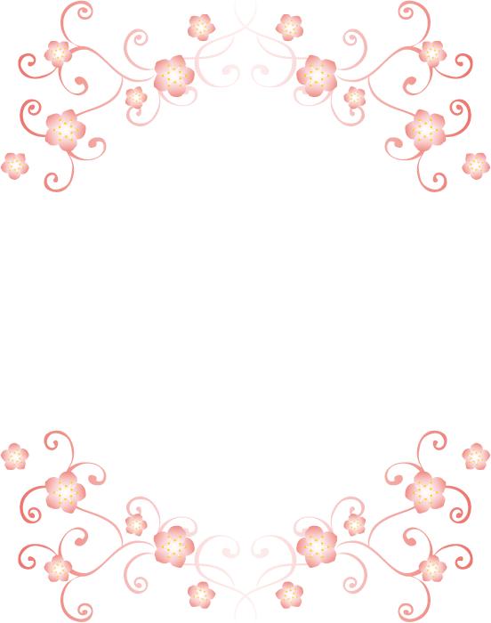 フリーイラスト 桜の花と唐草模様の背景