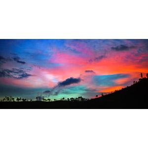 フリー写真, 風景, 自然, 空, 雲, 夕暮れ(夕方), 夕焼け, 丘, エクアドルの風景
