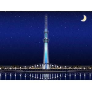 フリーイラスト, ベクター画像, AI, 風景, 建造物, 建築物, 塔(タワー), 東京スカイツリー, 東京都, 日本の風景, 月, 三日月, 星(スター), 夜, 夜景, 街並み(町並み), 都市, 橋