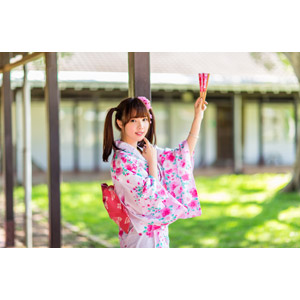 フリー写真, 人物, 女性, アジア人女性, 中国人, apple(00128), 和服, 浴衣, ツインテール, 扇子