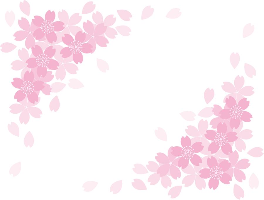 フリーイラスト 桜の花と花びらの飾り枠