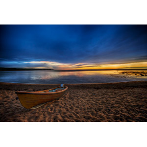 フリー写真, 風景, 夕暮れ(夕方), ビーチ(砂浜), 海, 乗り物, 船, ボート