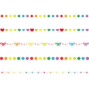 フリーイラスト, ベクター画像, AI, 飾り罫線(ライン), カラフル, 円形(サークル), 水玉模様(ドット柄), ハート, 蝶リボン, 四つ葉のクローバー, 輝き