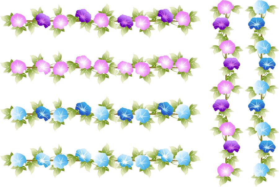 フリーイラスト 6種類の縦と横のあさがおの花のラインのセット