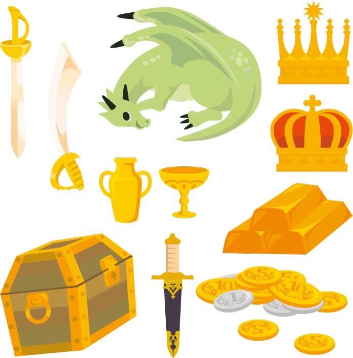 フリーイラスト ドラゴンと刀剣と財宝のセット