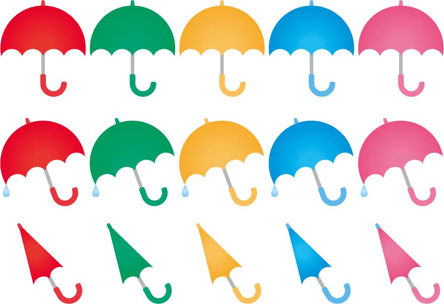 フリーイラスト 15種類の雨傘のセット