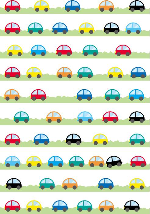 フリーイラスト 10種類のくるまの飾り罫線