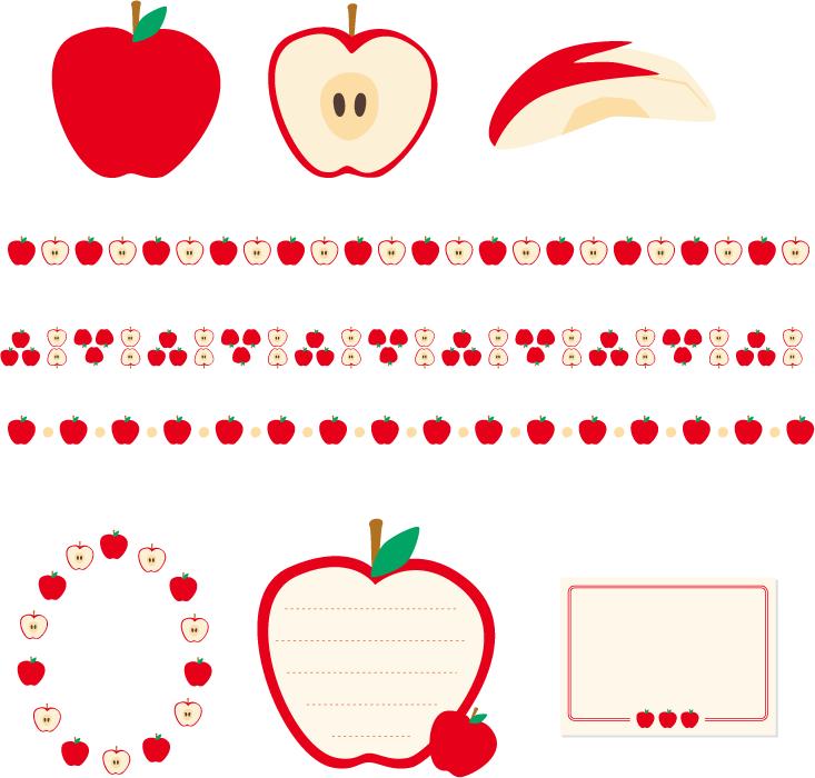フリーイラスト リンゴとリンゴのラインとフレームのセット