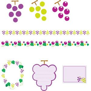 フリーイラスト, ベクター画像, AI, 食べ物(食料), 果物(フルーツ), 葡萄(ブドウ), マスカット, 飾り罫線(ライン), フレーム, 円形フレーム, 囲みフレーム, メッセージカード