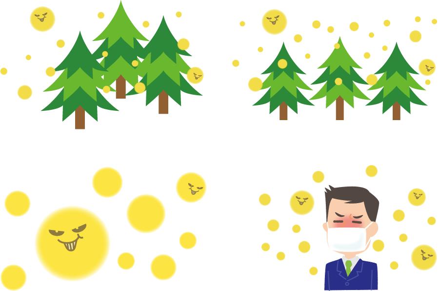 フリーイラスト 杉花粉と花粉症のセット