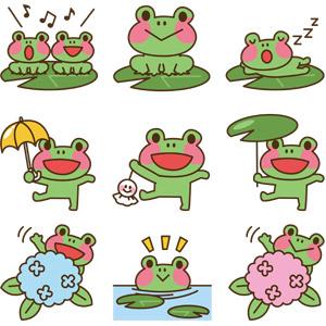 フリーイラスト, ベクター画像, AI, 動物, 両生類, 蛙(カエル), 歌う(動物), 寝る(動物), 紫陽花(アジサイ), てるてる坊主, 傘, 6月, 梅雨