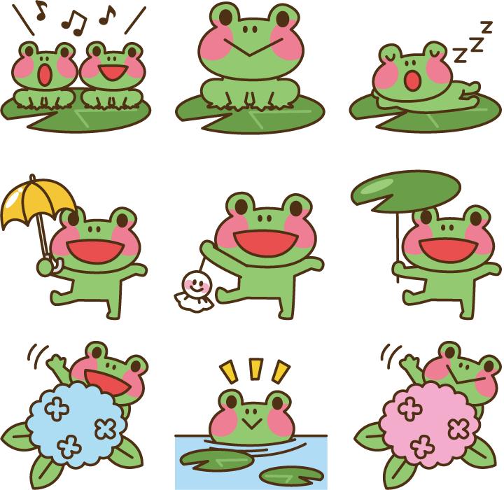 フリーイラスト 9種類のカエルのセット