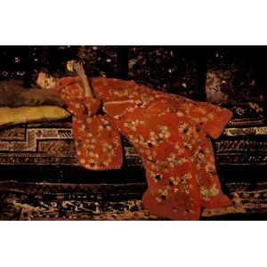 フリー絵画, ブレイトネル, 人物, 少女, 和服, 着物, 寝転ぶ, 仰向け