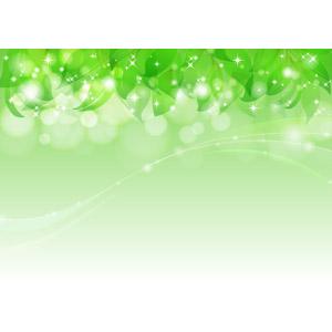 フリーイラスト, ベクター画像, AI, 背景, 植物, 葉っぱ, 新緑, 玉ボケ, 輝き, 緑色(グリーン), 波線