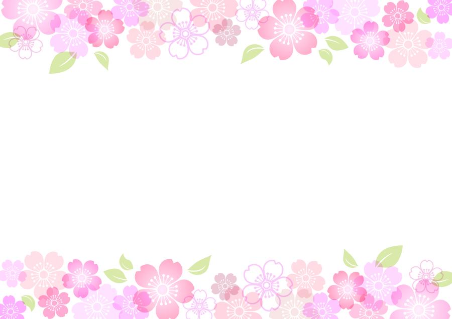 フリーイラスト さくらの花柄の飾り枠