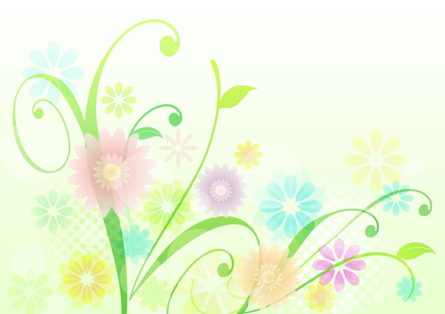 フリーイラスト 植物と花の柄の背景