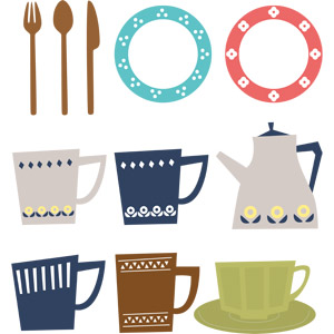 フリーイラスト, ベクター画像, AI, 食器, お皿, スプーン, フォーク, テーブルナイフ, マグカップ, ティーカップ, ティーポット