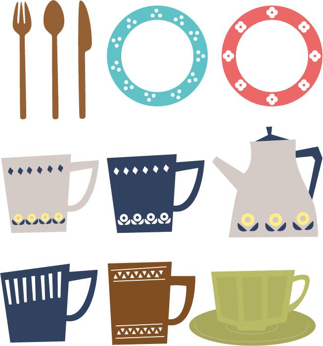 フリーイラスト お皿とカップとポットの食器セット