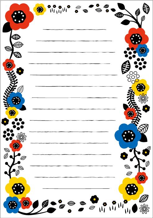 フリーイラスト 花柄フレームの便箋