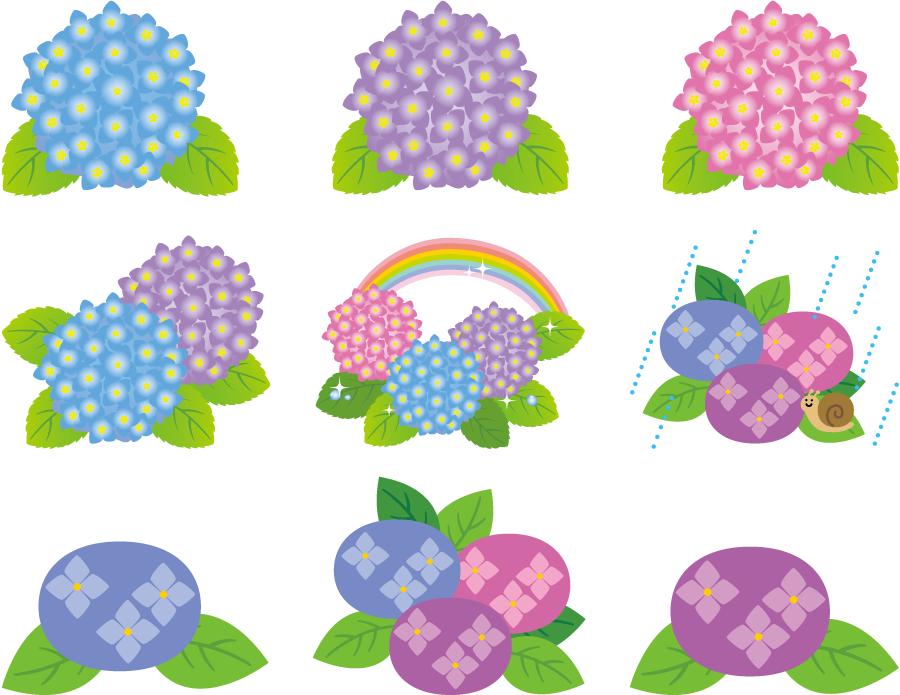 フリーイラスト 9種類のあじさいの花のセット