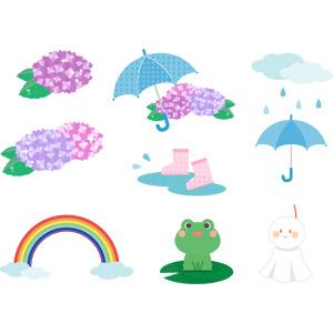 フリーイラスト, ベクター画像, AI, 梅雨, 6月, 植物, 花, 紫陽花(アジサイ), 虹, 雨具, 傘, 長靴, 蛙(カエル), てるてる坊主, 天気, 雨