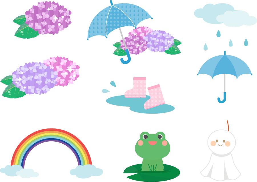 フリーイラスト 紫陽花や雨具などの梅雨関連のセット