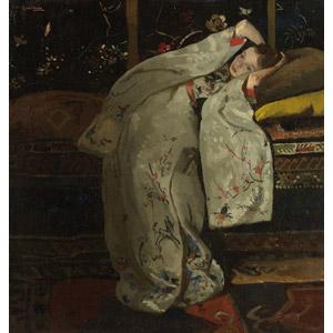 フリー絵画, ブレイトネル, 人物, 少女, 外国の少女, 和服, 着物