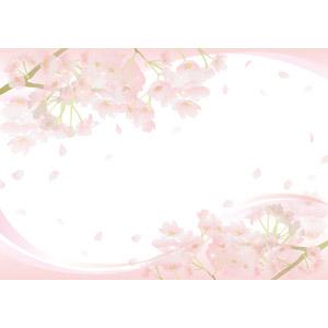 フリーイラスト, ベクター画像, AI, 背景, フレーム, 上下フレーム, 植物, 花, 桜(サクラ), 花びら, ピンク色の花, 桜吹雪, 春