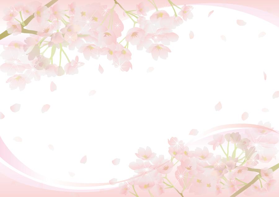 フリーイラスト さくらの花と舞い散る花びらの飾り枠