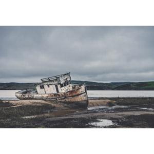 フリー写真, 風景, 海岸, 船, 座礁船(放置船), アメリカの風景, カリフォルニア州