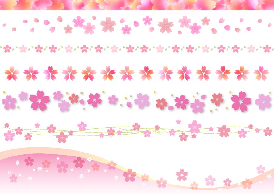 フリーイラスト 7種類の桜の花のライン