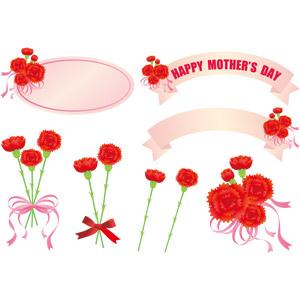 フリーイラスト, ベクター画像, AI, 年中行事, 母の日, 5月, 植物, 花, カーネーション, 赤色の花, プレゼント, ラベル, 帯リボン