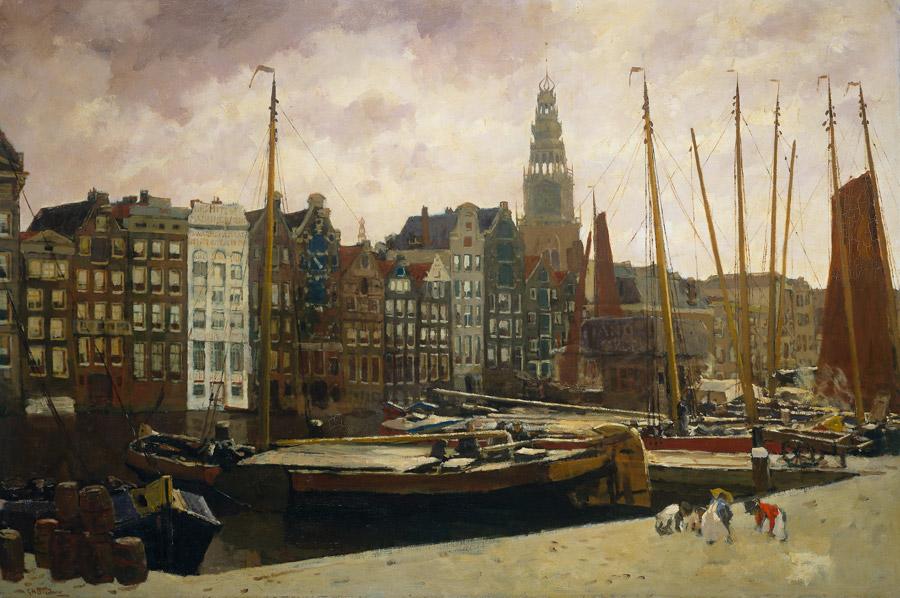 フリー絵画 ヘオルヘ・ヘンドリック・ブレイトネル作「アムステルダムのダムラック」